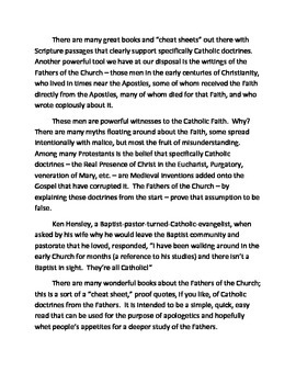 The Fathers Speak: Catholic Theology from the Mouths of the Earliest Christians