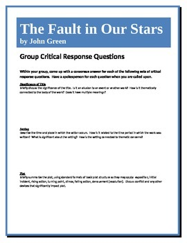 The Fault In Our Stars - Green - Group Critical Response Questions