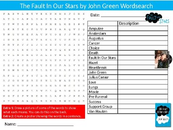 The Fault In Our Stars Wordsearch Puzzle Sheet Keywords English Literature Novel