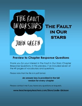 The Fault in Our Stars Chapter Response Questions