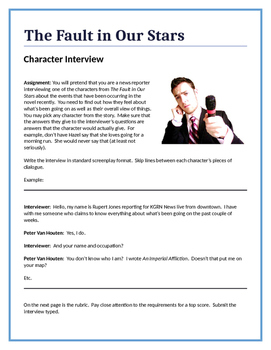 The Fault in Our Stars - Character Interview writing assignment