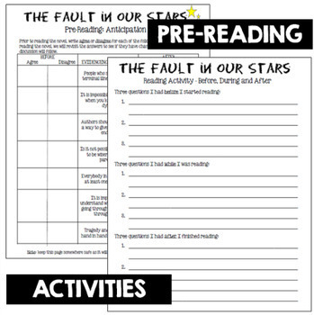 The Fault in Our Stars Novel Study Unit (includes EVERYTHING that you need!)