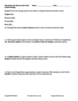 The Fault in Our Stars by John Green Guided Reading Worksheets by MrsNick