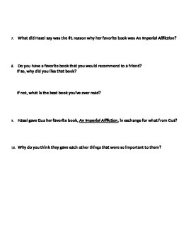 The Fault in our Stars Ch. 2 questions