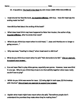 The Fault in our Stars, Ch. 4 questions