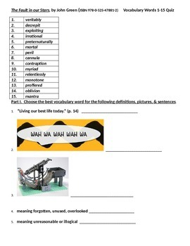 The Fault in our Stars, Vocabulary Quiz words 1-15