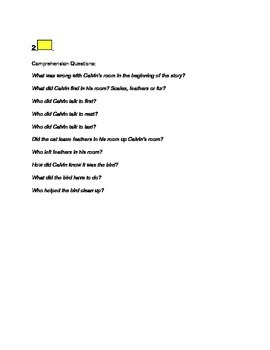 """The Feathers in Calvin's Room"" Story Comprehension Questions"