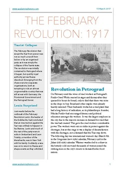 The February Revolution 1917: Study Guide and Questions