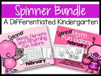 The February Spinner Bundle-Math and Digraphs/Blends/Rhyming Galore