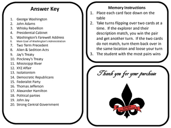 The Federalist Era Memory/ Matching Game