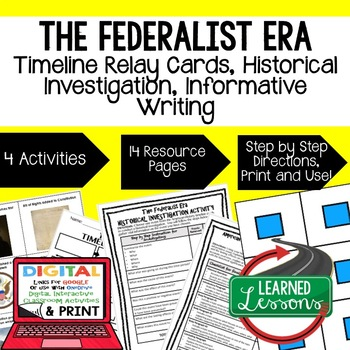The Federalist Era Timeline Relay & Writing Activities (Pa