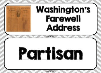 George Washington and John Adams Word Wall without definitions