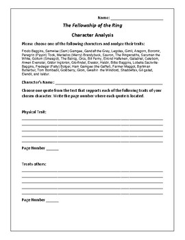 The Fellowship of the Ring - Character Analysis Activity - Tolkien