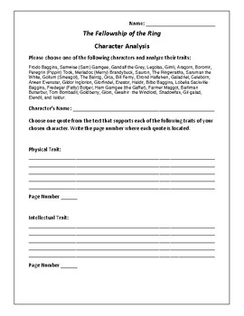 The Fellowship of the Ring - Character Analysis Activity -