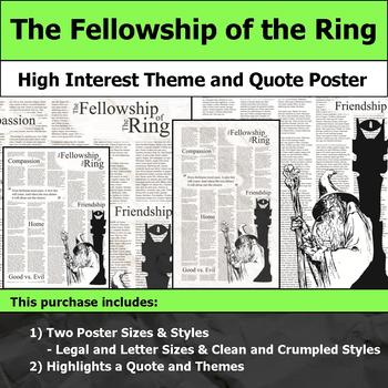 The Fellowship of the Ring - Visual Theme and Quote Poster for Bulletin Boards