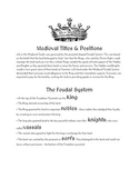 The Feudal System - Roles in Medieval Times