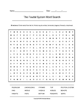 The Feudal System Word Search with Key (Grades 9-12)