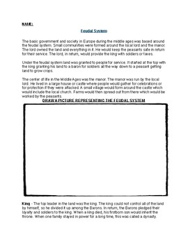 The Feudal System Worksheet, Writing and Drawing Assignment