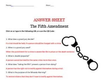 The Fifth Amendment Internet Worksheet