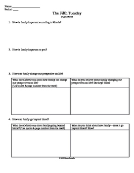 The Fifth Tuesday Worksheet