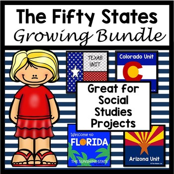 The Fifty States Growing Bundle (No Prep)