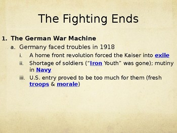 The Fighting Ends (WWI) PowerPoint Lecture