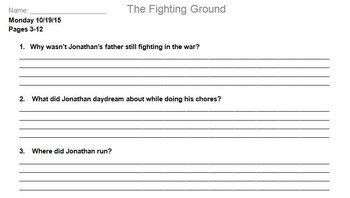 The Fighting Ground Novel Assignment