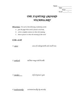 The Fighting Ground Vocab