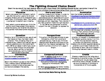 The Fighting Ground by Avi, Student Choice Board