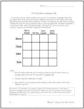 Figurative Language Worksheets: LOGIC PUZZLE That Teaches Figurative Language