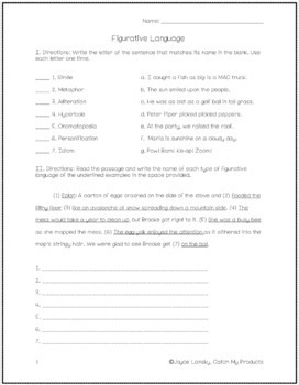 Figurative Language Worksheets and Activities