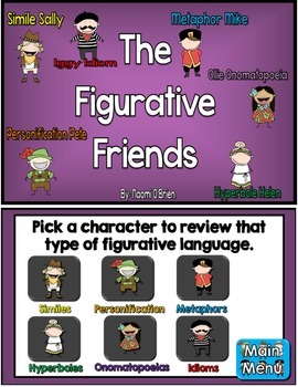 The Figurative Language Friends Jeopardy-Style Game Show