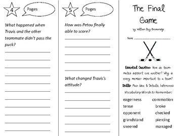 The Final Game Trifold - Open Court 2nd Grade Unit 1 Lesson 5