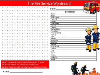 The Fire Service Wordsearch Puzzle Sheet Activity Keywords Emergency Careers
