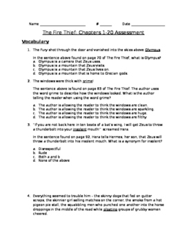 The Fire Thief - Chapters 1-20 Assessment