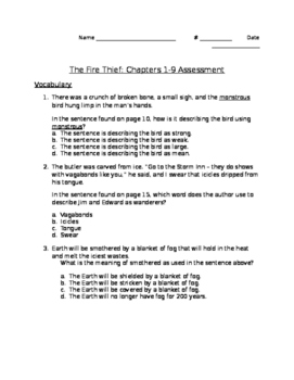 The Fire Thief - Chapters 1-9 Assessment