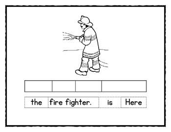 The Firetruck Emergent Reader and sentence strips