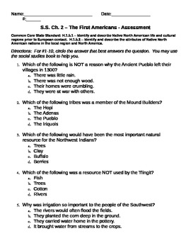 The First Americans (H.1.5.1 & H.1.5.2) - Use w/ Houghton Mifflin S.S. Text