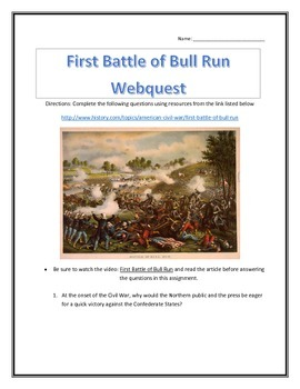The First Battle of Bull Run- Webquest and Video Analysis with Key