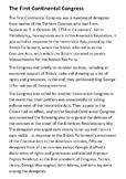 The First Continental Congress Handout