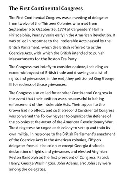 The First Continental Congress Handout