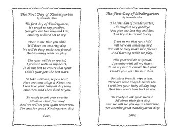 The First Day of Kindergarten - A Parent Care Package Poem