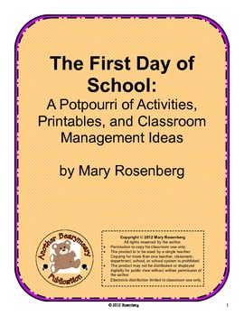 The First Day of School  A Potpourri of Activities, Printables & Classroom Ideas