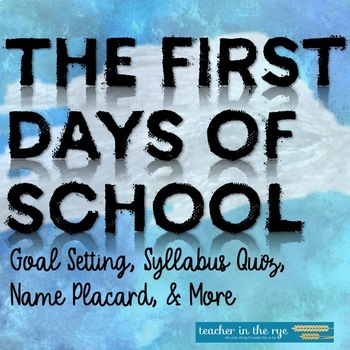 The First Day of School Activities for Middle or High Scho