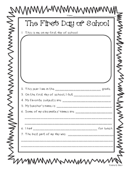 The First Day of School cloze writing activity - Use durin