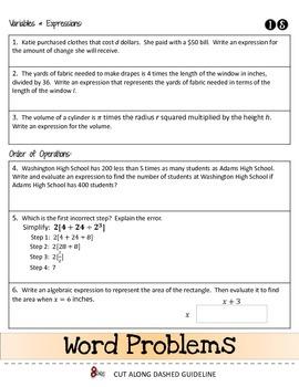 The First Days of Algebra Interactive Flip Book