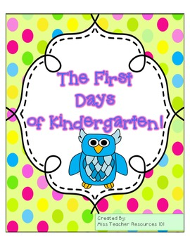 The First Days of Kindergarten - Reading Response Activities