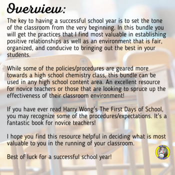 The First Days of School: Procedures, Policies, Rules, and Questionnaire