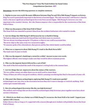 """The First Emperor"" by Daniel Cohen - Comprehension Questions with Key"