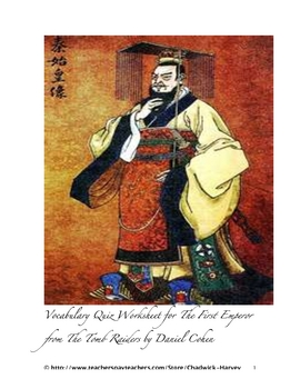 The First Emperor from The Tomb Raiders Vocabulary Quiz Worksheet